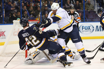 David Backes of the St. Louis Blues getting hit back.