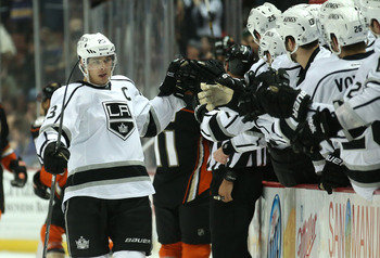 Dustin Brown delivering high-fives to teammates as he asks them if they know when the new team dental plan kicks in. (That's cheap. I'm sorry.)