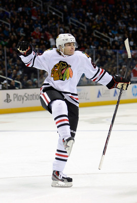 Patrick Kane celebrating after he hears an announcement for the new Cool Ranch Dorito tacos from Taco Bell. He's pumped.