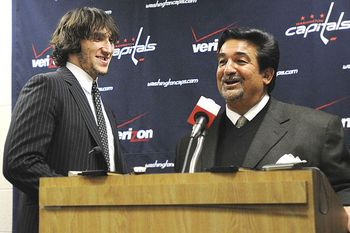 Alex Ovechkin and Capitals owner Ted Leonsis (AP Photo/Nick Wass)