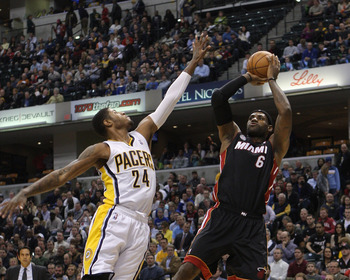 Indiana Pacers' Paul George, Miami Heat's LeBron James