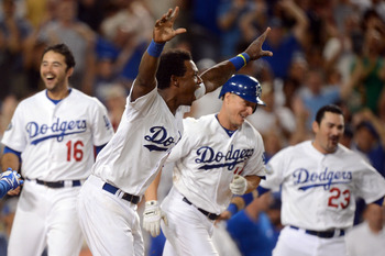 Andre Ethier, Hanley Ramirez, Mark Ellis and Adrian Gonzalez hope to be celebrating at the end of the season.
