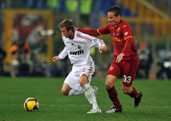 David Beckham made his first debut for AC Milan in the 2-2 draw with AS Roma in January 2009.