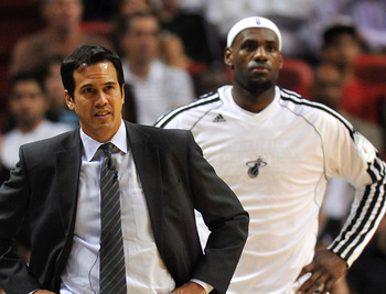 Miami Heat's Erik Spoelstra, LeBron James