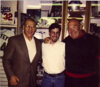 Bruno Sammartino (left) with George Steele (right)