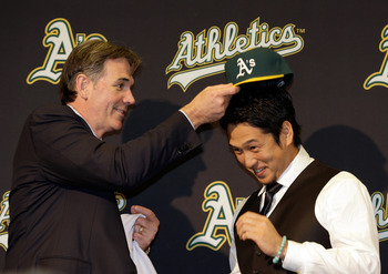 Beane crowning Nakajima as the Athletics' new shortstop.