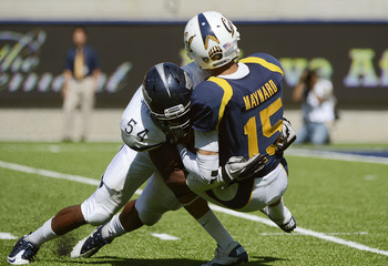 Jeremiah Green on a blitz crushing Zach Maynard.