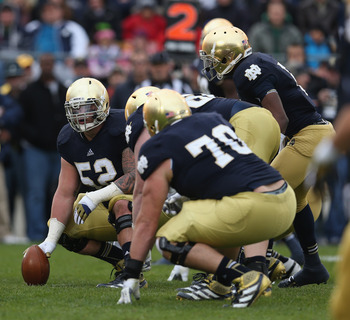 Cave (52) led the Notre Dame line for the past three years.