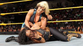 Kaitlyn vs. Tamina in NXT (Photo from WWE.com)