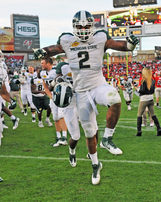 William Gholston celebrates after a big win by Michigan St.
