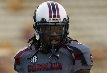 BATON ROUGE, LA - OCTOBER 13:  D.J. Swearinger #36 of the South Carolina Gamecocks at Tiger Stadium on October 13, 2012 in Baton Rouge, Louisiana.  (Photo by Ronald Martinez/Getty Images)