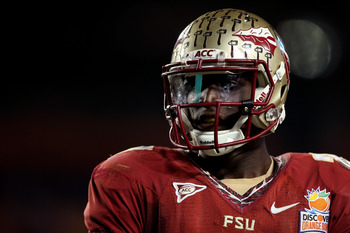 MIAMI GARDENS, FL - JANUARY 01:  Xavier Rhodes #27 of the Florida State Seminoles looks on against the Northern Illinois Huskies during the Discover Orange Bowl at Sun Life Stadium on January 1, 2013 in Miami Gardens, Florida.  (Photo by Streeter Lecka/Ge