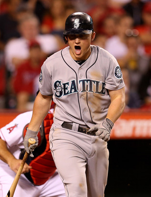 ANAHEIM, CA - SEPTEMBER 26:  Kyle Seager #15 of the Seattle Mariners reacts after striking out swinging to end the Mariniers fifth inning leaving a runner on third base against the Los Angeles Angels of Anaheim at Angel Stadium of Anaheim on September 26,