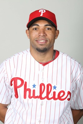 February 18, 2013; Clearwater, FL, USA; Philadelphia Phillies outfielder Jermaine Mitchell (71) poses for a picture during photo day at Bright House Networks Field. Mandatory Credit: Kim Klement-USA TODAY Sports