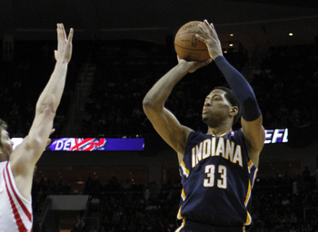 Apr 1, 2012; Houston, TX, USA; Indiana Pacers forward Danny Granger (33) takes a shot against the Houston Rockets in the fourth quarter at the Toyota Center. The Pacers defeated the Rockets 104-102 in overtime. Mandatory Credit: Brett Davis-USA TODAY Spor