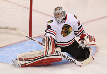 Corey Crawford has silenced his critics so far.