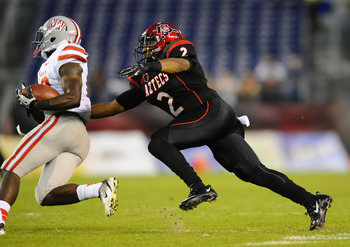October 27, 2012; San Diego, CA, USA; San Diego State Aztecs cornerback Leon McFadden (2) makes a tackle during the second quarter against the UNLV Rebels at Qualcomm Stadium.  Mandatory Credit: Christopher Hanewinckel-USA TODAY Sports