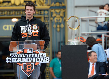 NL MVP Buster Posey makes a speech at the Giants' World Series parade.