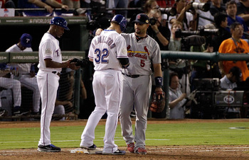 After facing off in the 2011 World Series, Hamilton (middle) and Pujols (right) are two of the best hitters in baseball and will produce monster numbers together.