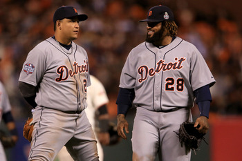 MVP and Triple Crown winner Cabrera (left) and Fielder (right), a combined 515 pounds, highlight a deep and powerful Tigers lineup.