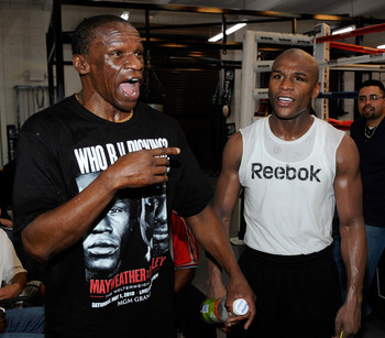 Floyd Mayweather Sr., left, and Jr., right, in another boxing debate.