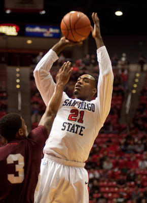 SAN DIEGO, CA - DECEMBER 03:  Jamaal Franklin #21 of the San Diego State Aztecs shoots the ball in the first half of the game against the Texas Southern Tigers at Viejas Arena on December 03, 2012 in San Diego, California. (Photo by Kent C. Horner/Getty I