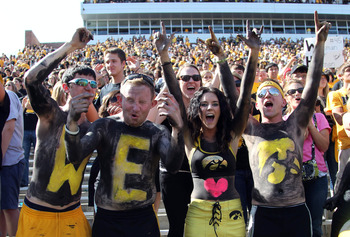 Iowa fans celebrate after a touchdown in their 31-13 win over Minnesota in late September.