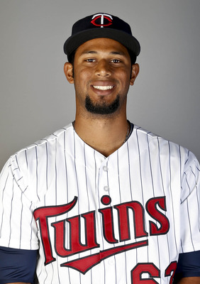 Feb 19, 2013; Fort Myers, FL, USA; Minnesota Twins center fielder Aaron Hicks (63) poses for a portrait during photo day at Hammond Stadium. Mandatory Credit: Derick E. Hingle-USA TODAY Sports