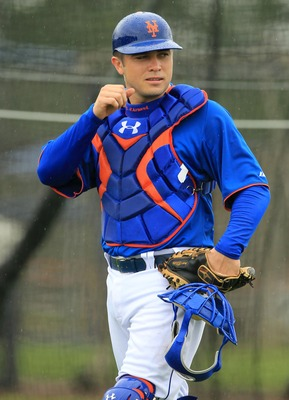 Feb 15, 2013; Port St. Lucie, FL, USA; New York Mets catcher Travis d'Arnaud during spring training at Legends Field.  Mandatory Credit: John Munson/THE STAR-LEDGER via USA TODAY Sports
