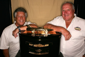 Mario Andretti (left) and A.J. Foyt, the only drivers to win both the Daytona 500 and Indianapolis 500.