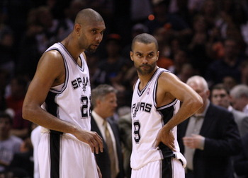 Veteran Spurs Tim Duncan (left) and Tony Parker