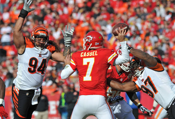 KC quarterback Matt Cassel throws a pass against Cincinnati on Nov. 18.