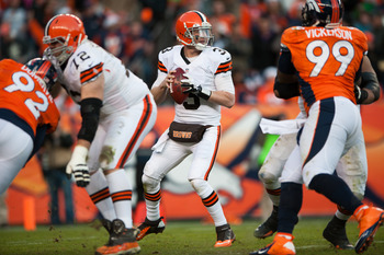 Cleveland's Brandon Weeden drops back to pass against Denver on Dec. 23.