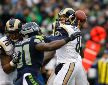 Quarterback Sam Bradford throws a pass against the Seahawks on Dec. 30.