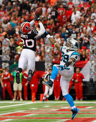 Brent Grimes interception over Carolin Panthers wide receiver Steve Smith.