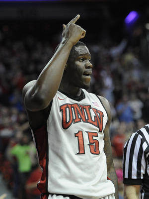 Feb 16, 2013; Las Vegas, NV, USA; UNLV Runnin' Rebels forward Anthony Bennett (15) points to the possession arrow as a San Diego State Aztecs pass went out of bounds in the second half at the Thomas and Mack Center. UNLV defeated San Diego State 72-70. Ma