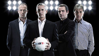 The current MotD team of Alan Shearer, Gary Lineker, Alan Hansen and Mark Lawrenson. (Image via BBC.co.uk)
