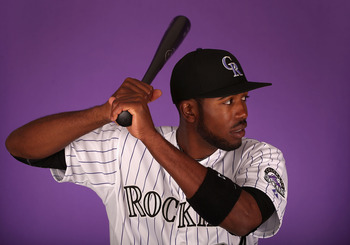 SCOTTSDALE, AZ - FEBRUARY 21:  Dexter Fowler #24 of the Colorado Rockies poses for a portrait during spring training photo day at Salt River Fields at Talking Stick on February 21, 2013 in Scottsdale, Arizona.  (Photo by Christian Petersen/Getty Images)