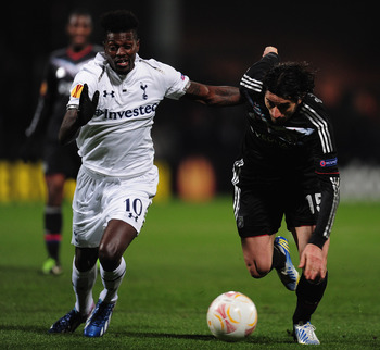 Emmanuel Adebayor in action.