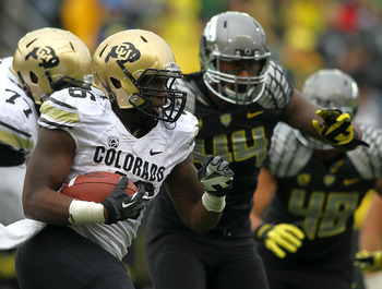 Oregon DE DeForest Buckner chases down a Colorado ball-carrier.