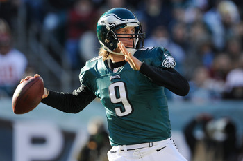 PHILADELPHIA, PA - DECEMBER 23: Nick Foles #9 of the Philadelphia Eagles throws a pass during the first half against the Washington Redskins at Lincoln Financial Field on December 23, 2012 in Philadelphia, Pennsylvania. (Photo by Patrick McDermott/Getty I