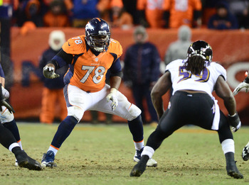 Jan 12, 2013; Denver, CO, USA; Denver Broncos tackle Ryan Clady (78) against the Baltimore Ravens during the AFC divisional round playoff game at Sports Authority Field.  Mandatory Credit: Mark J. Rebilas-USA TODAY Sports