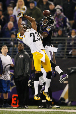 BALTIMORE, MD - DECEMBER 02: Cornerback Keenan Lewis #23 of the Pittsburgh Steelers breaks up a pass intended for wide receiver Jacoby Jones #12 of the Baltimore Ravens at M&T Bank Stadium on December 2, 2012 in Baltimore, Maryland.  (Photo by Rob Carr/Ge