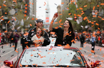Ryan Vogelsong and his family enjoy the Giants' 2012 victory parade.