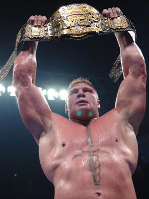Lesnar won a few titles in Japan after his struggles in the NFL. Photo Courtesy of wrestleenigma.com