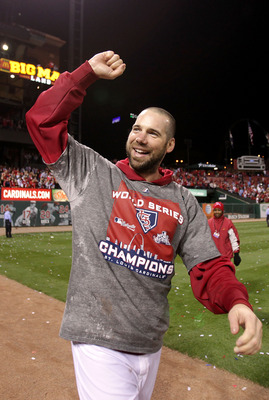 Carpenter celebrates his World Series win.