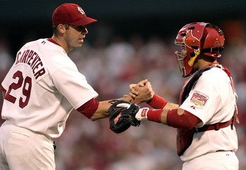 Carpenter with catcher Yadier Molina in his 2005 Cy Young season.