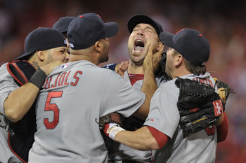 Carpenter after his NLDS shutout, the picture of triumph.