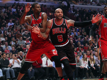 Carlos Boozer (12 points, 11 rebounds) was one of the few bright spots for the Bulls.