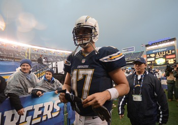 SAN DIEGO, CA - DECEMBER 30: Philip Rivers #17 of the San Diego Chargers walks back to the locker room after the 24-21 win over the Oakland Raiders on December 30, 2012 at Qualcomm Stadium in San Diego, California. (Photo by Donald Miralle/Getty Images)